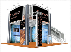 Double deck trade show booth exhibit rentals