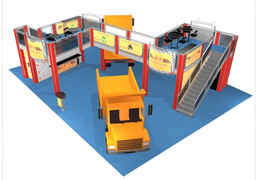 Lift Hauling double deck trade show booth exhibit display 50 x 60