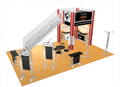 Tech Tangle double deck two story trade show booth exhibit