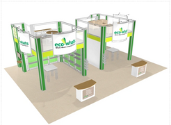 Eco-whats double deck trade show booth exhibit display 30 x 30