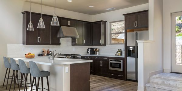 Image of kitchen of model at Cortona Homes.