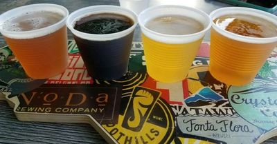 A flight of craft beer at Crystal Coast Brewing's taproom in Atlantic Beach