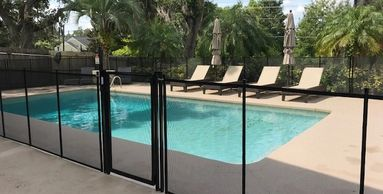 Staying on the outer edge of the pool decks allows for more room for the chaise loungers.