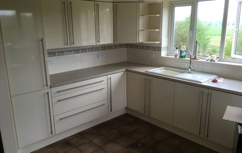 Kitchen Makeover, New Gloss White Doors, Long T-bar Handles, Replacement Worktops, Belper Derbyshire
