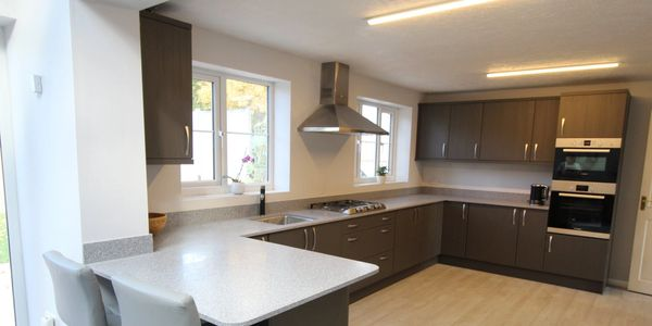 Full Kitchen Install, Quartz Worktops, Dark Grey Kitchen Units, Breakfast Bar, Belper Derbyshire