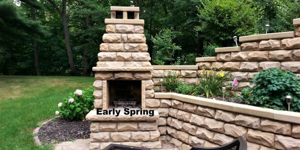 Retaining wall and brick fireplace