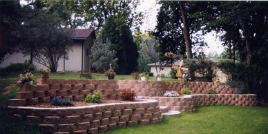 Brick retaining wall and stone steps