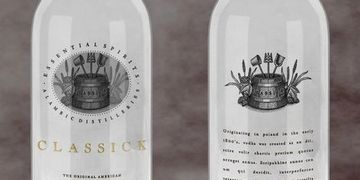Two bottles, displaying the front and back decoration of Classick, the Original American Bierschnaps