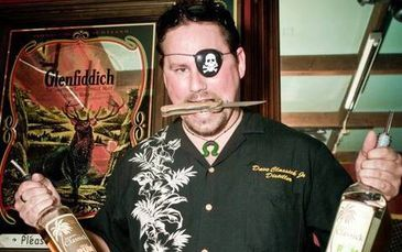Head Distiller for Essential Spirits Alambic Distilleries, Dave Jr, dressed like a pirate