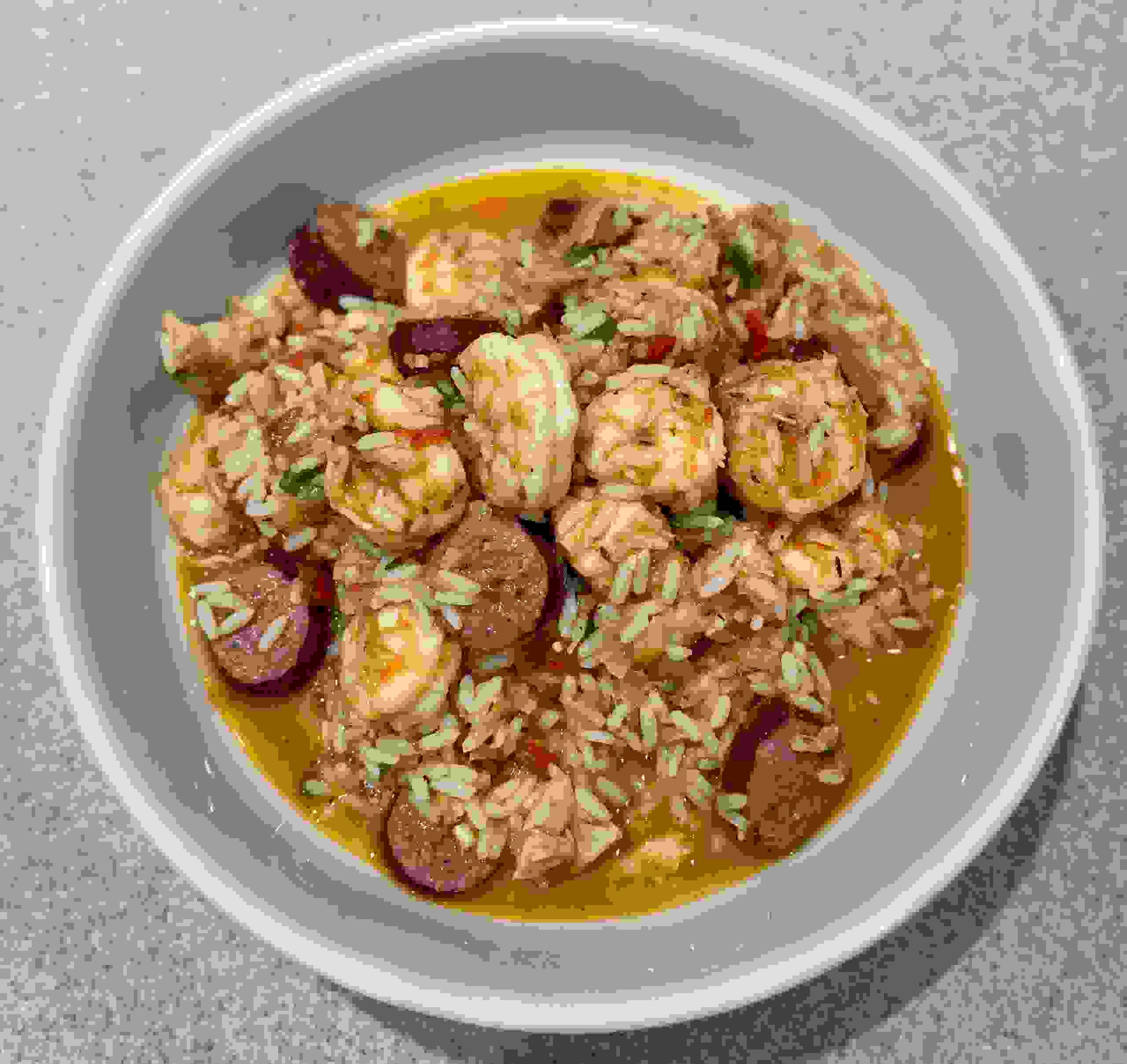 Seafood Jambalaya with Kris'es Gulf White Shrimp, Sausage, & Chicken