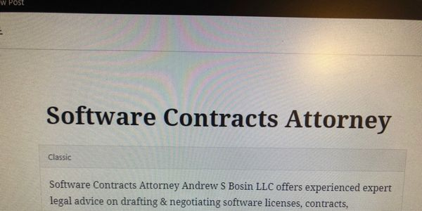 Software Contracts Attorney Andrew S Bosin LLC represents startups, vendors, and end-users.