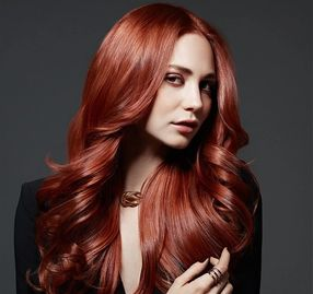 Red hair model image, hair color salon, beauty salon, smooth hair, keratin complex