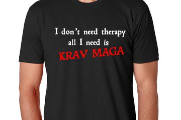 """I don't need therapy all I need is Krav Maga"" Quote on the front and logo on the back."