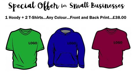 Special Offer 1 Hoodie and 2 T-shirts Front and back print for £38.00