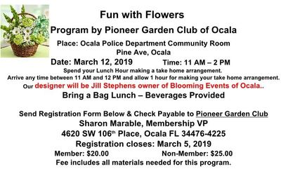 Fun with Flowers for March 2019 Pioneer Garden Club