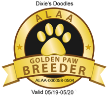 Dixie's Doodles is recognized as an ALAA Gold Paw Breeder