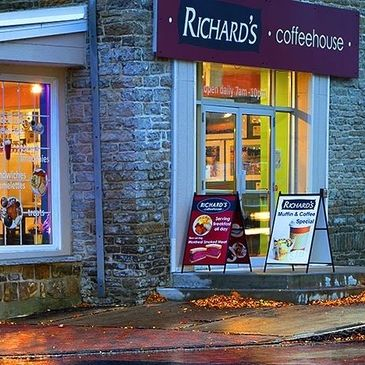 The exterior of Richard's Coffee House.