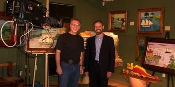 Bill on set with TV Host, Neal Gabler
