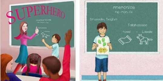 illustrations from the book Mrs. Feathergreen might be a superhero