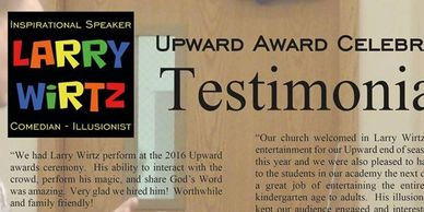 Larry Wirtz magic magician illusionist comedy comedian Indiana Christian Speaker upward ministry