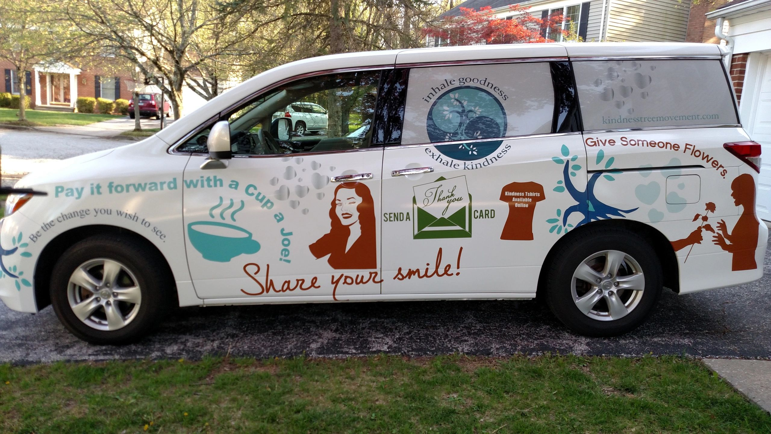 A van used for kindness movement apparel