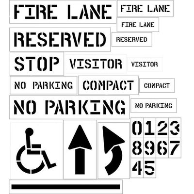 parking lot stencils, fire lane, reserved, visitor, compact parking, stop, handicap, arrows