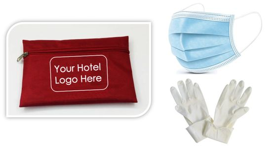 COVID 19 amenity kit: Gloves and masks hospitality PPE