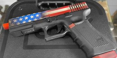 Elite Force Glock Airsoft gun Cerakote by Nightmare inc in a Distressed American Flag theme