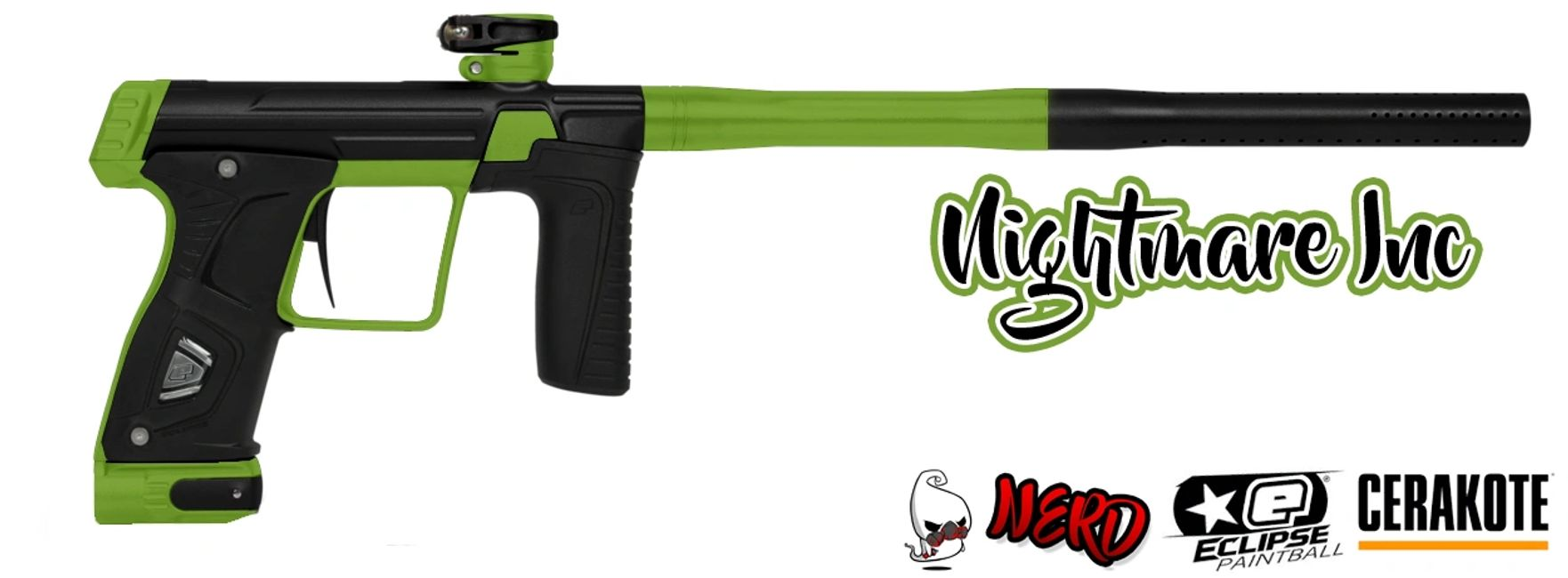Lime Green Planet Eclipse Gtek 170R Cerakote accents by Nightmare Inc Paintball and Airsoft