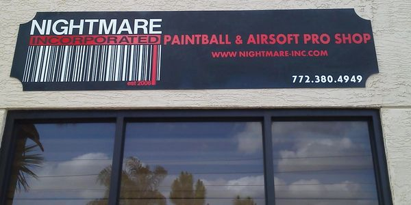 Nightmare Inc Paintball & Airsoft store's sign. Located in Port Saint Lucie, Fl 34953