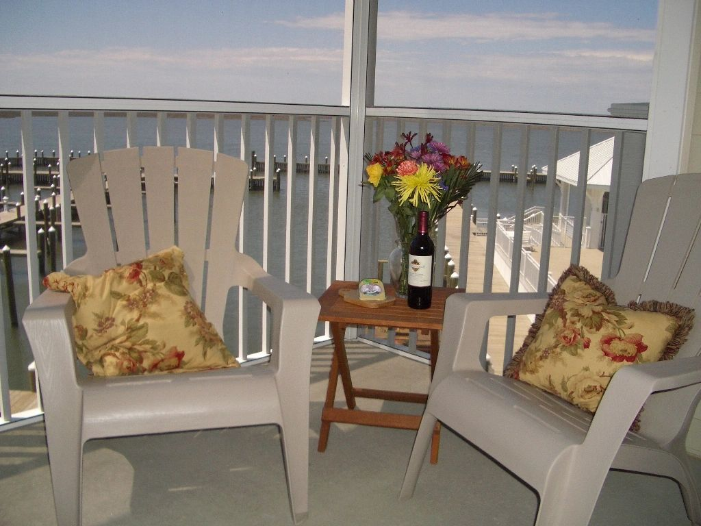 Enjoy your screened porch overlooking the pool and marina