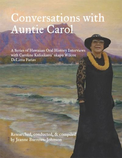 Auntie Carol Kuliaikanu`ukapu Wilcox DeLima Farias within an antique painting of Diamond Head.