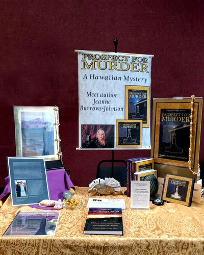 Tablescape at a book event when I had only Prospect for Murder to offer Tucson mystery readers.