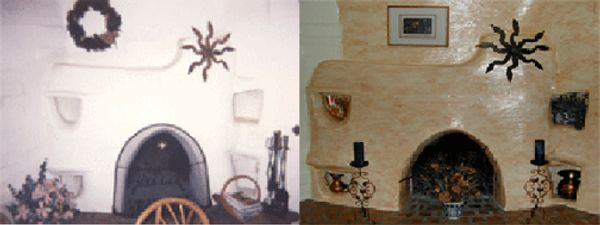 Kiva fireplace in my Tucson home that I faux painted and accessorized with copper and rustic metal.
