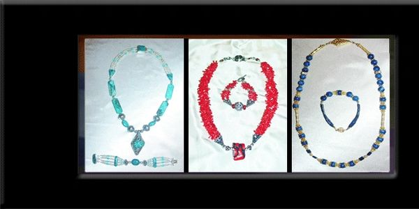 A sampling of Jeanne's design aesthetic in a trio of necklaces...turquoise, coral, lapis lazuli.