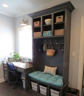 Office desk and cubbies with five hooks and 9 openings