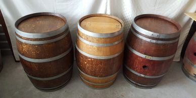 stained wine barrels