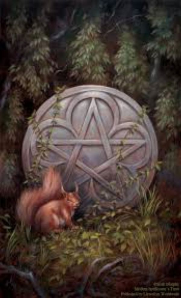 Modern Spellcaster's Tarot Ace of Pentacles. A squirrel sits next to a stone pentacle in the forest.