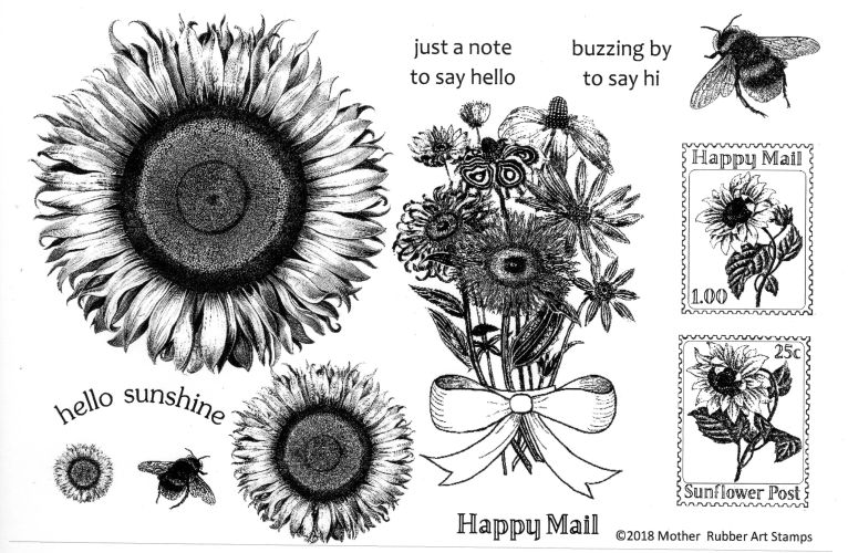 Sunflower stamp set bee stamp flowers