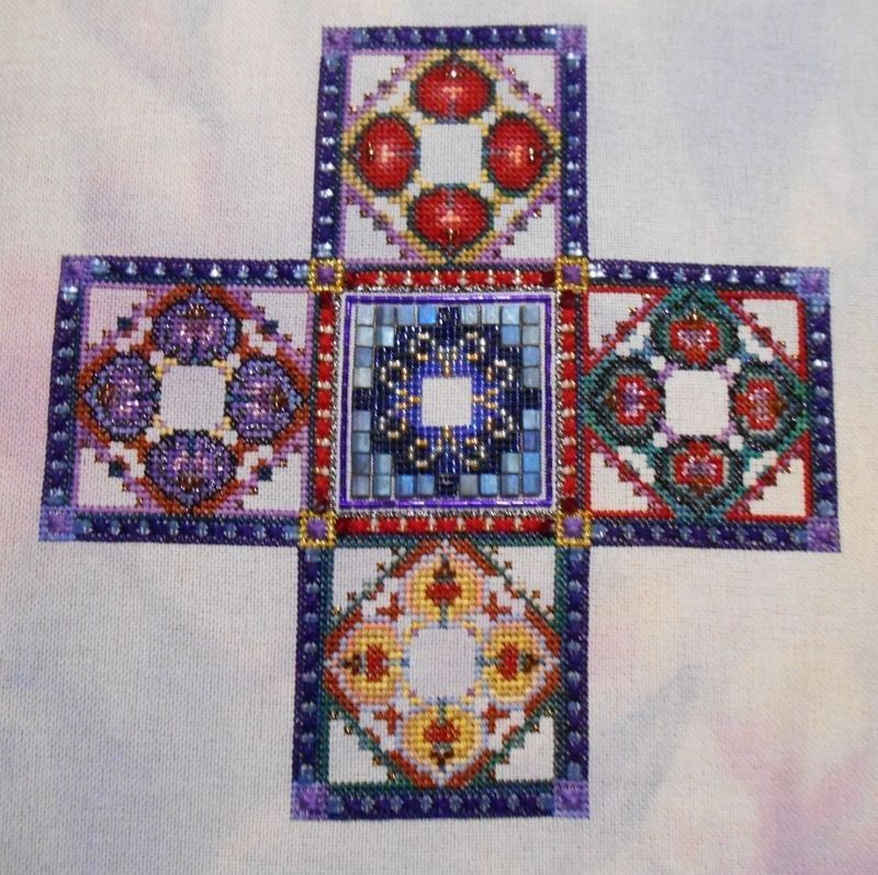 by Claire on 28 ct Lugana - Berry Surprise by Fabulous Fabrics