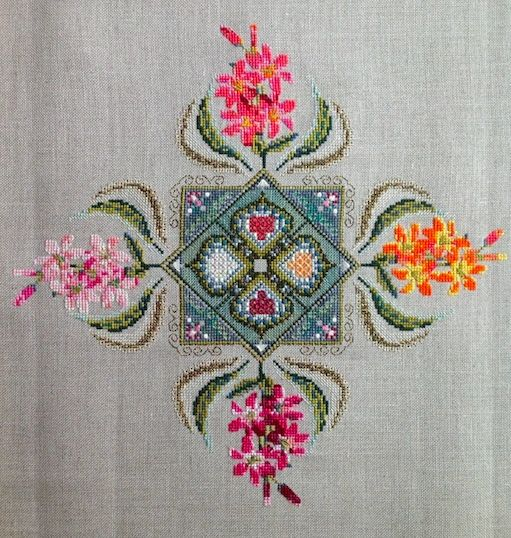 by Amanda Koppelow on Raw Belfast linen using the recommended threads and fibres