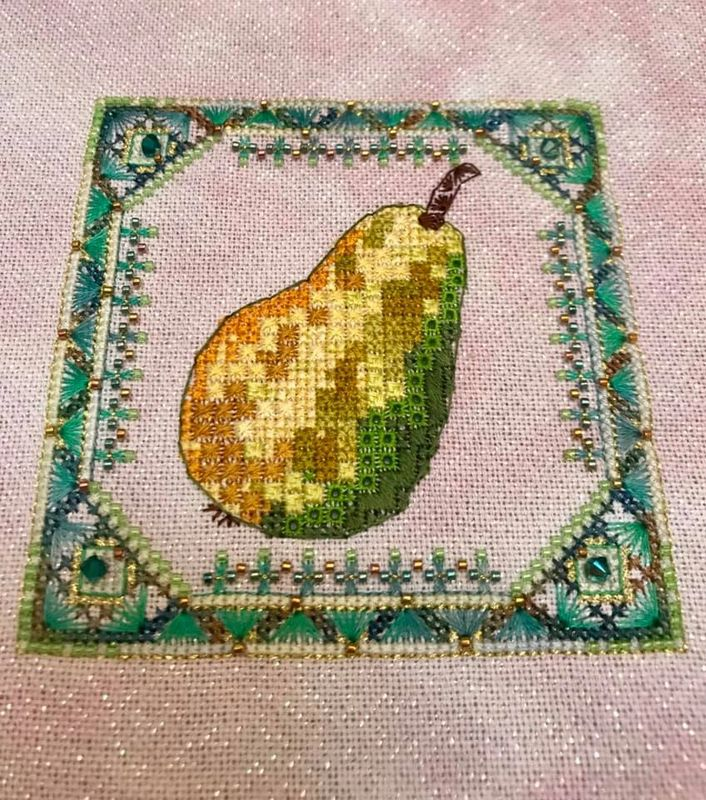 Summer Fruit 1 - Pear, by Jessica Murphy on 28ct Jamaica Sparkle from Silkweaver, substituted Silk Mill silks for DMC