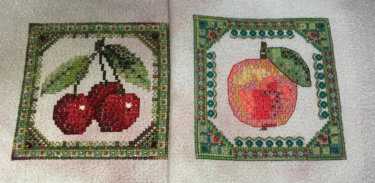 Summer Fruit Cherries & Apple, by Jessica Murphy on 28ct Jamaica Sparkle from Silkweaver, substituted Silk Mill silks for DMC