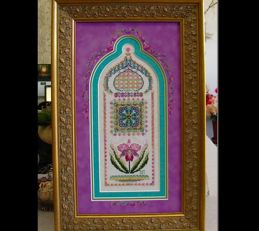 Flower Panel 03 Cattelya by Kathy Meyers framed by Jill Rensel