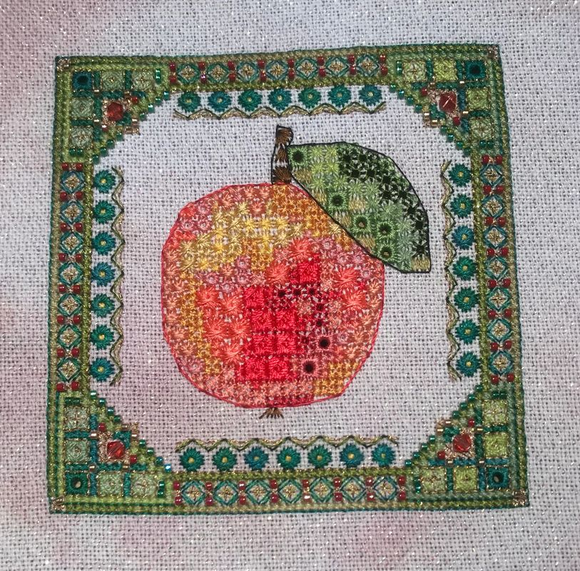 Summer Fruit 2 - Apple, by Jessica Murphy on 28ct Jamaica Sparkle from Silkweaver, substituted Silk Mill silks for DMC