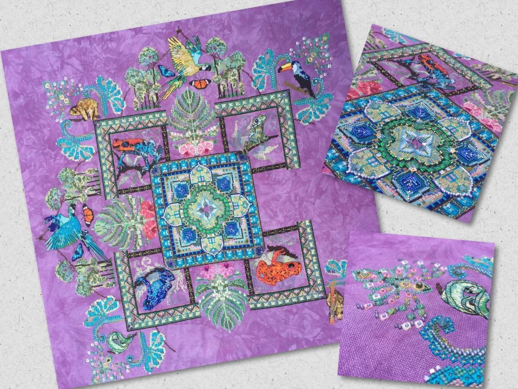 "by Jessica Murphy on 32ct ""Thistle"" by PTP fabrics"