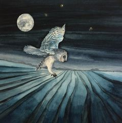 watercolour gold leaf painting art barn owl moon stars nature wildlife moonlight