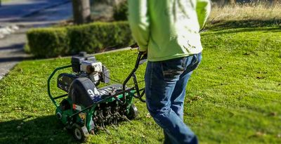 Aerating a lawn in Lehi Utah