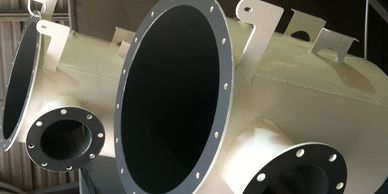 Powder coated outside with wear resistant coating on the inside.