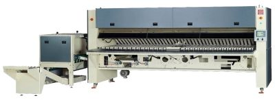 folding crossfolding stacking machine for hotel linens like bed sheets and table cloths
